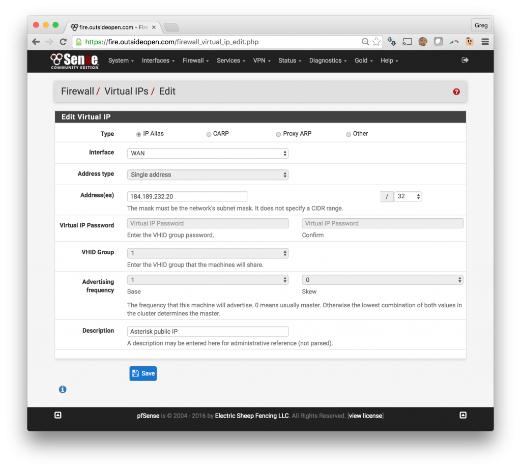 pfSense Virtual IP